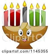 Cartoon Of A Kwanzaa Kinara With Lit Candles Royalty Free Vector Clipart by BNP Design Studio