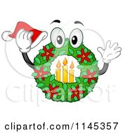 Cartoon Of A Christmas Wreath Mascot With Candles And A Santa Hat Royalty Free Vector Clipart