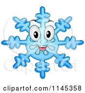 Cartoon Of A Happy Blue Snowflake Mascot Royalty Free Vector Clipart by BNP Design Studio