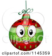 Cartoon Of A Happy Christmas Bauble Mascot Royalty Free Vector Clipart by BNP Design Studio