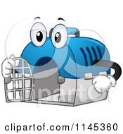 Cartoon Of A Pet Carrier Mascot Holding Its Door Open Royalty Free Vector Clipart