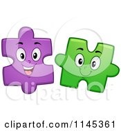 Cartoon Of Happy Purple And Green Jigsaw Puzzle Mascots Royalty Free Vector Clipart