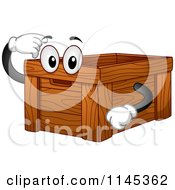Cartoon Of A Wood Crate Mascot Pointing Inside Royalty Free Vector Clipart
