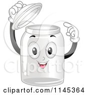Cartoon Of A Happy Empty Glass Container Mascot Pointing Inside Royalty Free Vector Clipart
