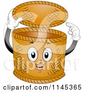 Cartoon Of A Happy Basket Pointing Inside Royalty Free Vector Clipart