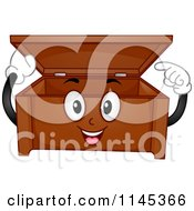 Cartoon Of A Happy Storage Chest Pointing Inside Royalty Free Vector Clipart