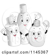 Cartoon Of Happy Product Bottles Royalty Free Vector Clipart