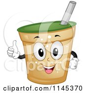 Cartoon Of A Happy Beverage Cup Mascot Holding A Thumb Up Royalty Free Vector Clipart by BNP Design Studio
