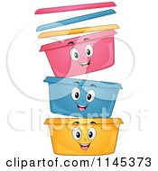Cartoon Of Happy Stackable Food Containers Royalty Free Vector Clipart