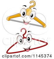 Cartoon Of Happy Hanger Mascots Royalty Free Vector Clipart