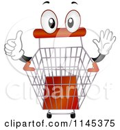 Cartoon Of A Shopping Cart Mascot Holding A Thumb Up Royalty Free Vector Clipart
