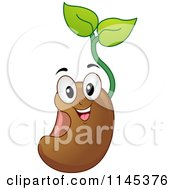 Cartoon Of A Happy Seedling Plant Mascot Royalty Free Vector Clipart by BNP Design Studio