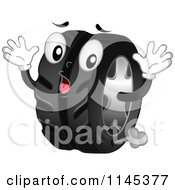Cartoon Of A Shocked Tire Mascot Leaking Air Royalty Free Vector Clipart by BNP Design Studio