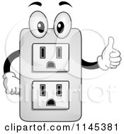 Cartoon Of An Electrical Socket Mascot Holding A Thumb Up Royalty Free Vector Clipart