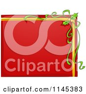 Cartoon Of A Red Christmas Sign With Holly And Ribbons Royalty Free Vector Clipart