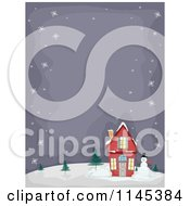 Cartoon Of A Snowman By A Christmas House With Night Copyspace Royalty Free Vector Clipart