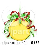 Cartoon Of A Yellow Christmas Ornament With Ribbons And Poinsettia Royalty Free Vector Clipart by BNP Design Studio