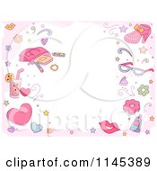 Cartoon Of A Girly Fashion Border With Copyspace Royalty Free Vector Clipart
