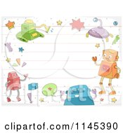 Cartoon Of A Border Of Robots Over Ruled Paper Copyspace Royalty Free Vector Clipart