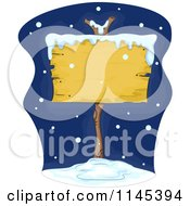 Cartoon Of A Blank Wood Sign In The Snow Royalty Free Vector Clipart
