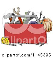 Cartoon Of A Carpentry Tool Box Royalty Free Vector Clipart by BNP Design Studio