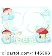 Cartoon Of A Border Of Mushroom Houses On Clouds Royalty Free Vector Clipart