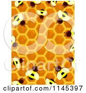 Cartoon Of A Bee And Honey Hive Border Royalty Free Vector Clipart by BNP Design Studio