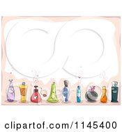Cartoon Of A Background Of Perfume Bottles And Copyspace Royalty Free Vector Clipart by BNP Design Studio