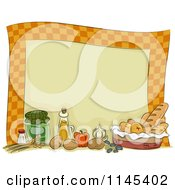 Cartoon Of A Checkered Border With Condiments And Food Royalty Free Vector Clipart by BNP Design Studio