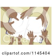 Cartoon Of A Book With Hands Of A Black Family Royalty Free Vector Clipart