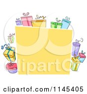 Cartoon Of A Yellow Board With Colorful Gift Boxes Royalty Free Vector Clipart