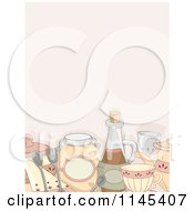 Cartoon Of A Backgorund Of Country Styled Kitchen Items And Condiments Royalty Free Vector Clipart by BNP Design Studio