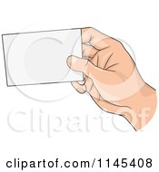 Cartoon Of A Hand Holding A Blank Business Card Royalty Free Vector Clipart