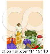 Cartoon Of Veggies And Condiments Over Beige Royalty Free Vector Clipart by BNP Design Studio