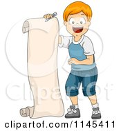 Cartoon Of A Happy Red Haired Boy Holding A Long List Royalty Free Vector Clipart