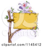Cartoon Of A Blank Wooden Sign With Flowers Royalty Free Vector Clipart