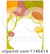 Cartoon Of A Retro Colorful Tree Border Royalty Free Vector Clipart