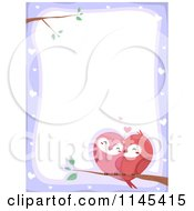 Cartoon Of A Purple Heart Border With Love Birds Royalty Free Vector Clipart by BNP Design Studio