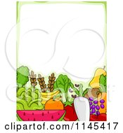 Cartoon Of A Border Of Fruits And Veggies Under Copyspace Royalty Free Vector Clipart by BNP Design Studio