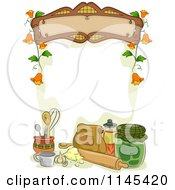 Cartoon Of A Sign Over Baking Ingredients Royalty Free Vector Clipart