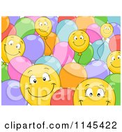 Cartoon Of A Background Of Happy Colorful Balloons Royalty Free Vector Clipart