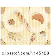 Cartoon Of A Seamless Pattern Of Bread And Pastries Royalty Free Vector Clipart by BNP Design Studio