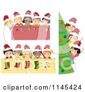 Cartoon Of Happy Christmas Children With Borders Royalty Free Vector Clipart