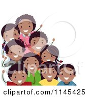 Cartoon Of A Group Of Happy Black Children Royalty Free Vector Clipart