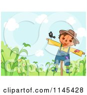Cartoon Of A Bird On A Scarecrow Over Corn Royalty Free Vector Clipart