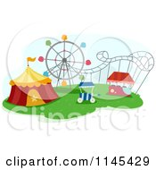 Cartoon Of A Circus Tent And Roller Coaster In A Theme Park Royalty Free Vector Clipart