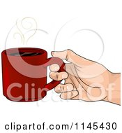 Cartoon Of A Hand Holding A Cup Of Hot Coffee Royalty Free Vector Clipart