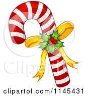 Cartoon Of Holly And Bow On A Christmas Candy Cane Royalty Free Vector Clipart by BNP Design Studio