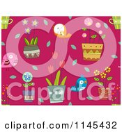 Cartoon Of A Seamless Pink Background Of Birds And Plants Royalty Free Vector Clipart