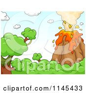 Cartoon Of A Bursting Volcano Royalty Free Vector Clipart